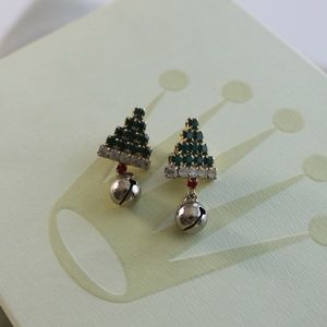 Jewel Christmas Tree and Bell Drop Earrings
